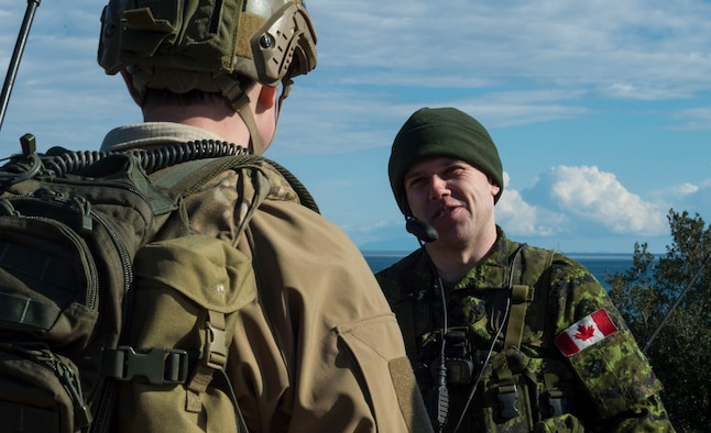 Tech. Sgt. Jeremy Rarang, 2nd Air Support Operations Squadron joint terminal attack controller, interacts with fellow JTACs from the Royal Canadian Horse Artillery during exercise SERPENTEX 16, March 7, 2016. SERPENTEX 16 is an annual French-led exercise that is designed to enhance NATO operations and training between allies and partners.  The exercise helped enhance readiness and reinforce relations in a joint and combined training environment. (U.S. Air Force photo/Staff Sgt. Sara Keller)