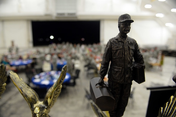 Maintenance Professional of the Year trophies sit prepared before the annual MPOY ceremony March 4, 2016, at Andersen Air Force Base, Guam. The MPOY awards recognized Airmen from multiple maintenance career fields for outstanding achievements. (U.S. Air Force Photo/Airman 1st Class Alexa Ann Henderson)