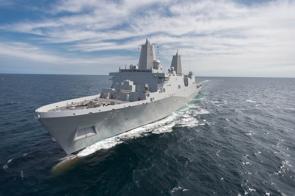 GULF OF MEXICO - The Navy's future amphibious transport dock, John P. Murtha (LPD 26) successfully completed Builder's Trials March 4. The principal mission of LPD 17 San Antonio class ships is to deploy combat and support elements of Marine Expeditionary Units and Brigades. With the capability of transporting and debarking air cushion or conventional landing craft and augmented by helicopters or MV-22 vertical take-off and landing aircraft, these ships support amphibious assault, special operations, and expeditionary warfare missions. (Photo courtesy of HII)