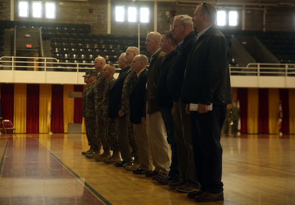 Former company commanders for Charlie Company, 2nd Tank Battalion, gathered to be recognized for their time leading the company during its deactivation ceremony at Camp Lejeune, N.C., March 4, 2016. Charlie Company, activated in 1941, has taken part in some of the America's largest battles to include World War II (Tarawa, Saipan), The Vietnam War, Operations Desert Storm and Shield, and Operation Iraqi Freedom (Fallujah).(U.S. Marine Corps photo by Cpl. Joey Mendez)