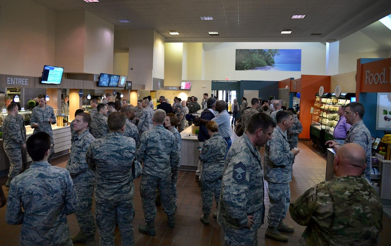 Members from across the 27th Special Operations Wing enjoy a first-hand look of the new Pecos Trail Dining Facility March 3, 2016, at Cannon Air Force Base, N.M. Now that the DFAC has re-opened, Air Commandos are able to use their meal cards at any NAF-operated facility on base; to include places like the Drop Zone's Tailgate Sports Lounge, Kiosk in Hangar 4609, Chip Shot Dining Room at the golf course, Cannon Lanes snack bar in the bowling center, and Landing Zone. (U.S. Air Force photo/Staff Sgt. Alexx Pons)