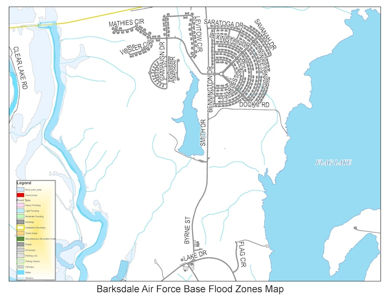 Barksdale Air Force Base flood zones map near the east side housing. Flood waters should be avoided because just six inches of moving water can knock you down and two feet of water can sweep your vehicle away. (U.S. Air Force graphic)
