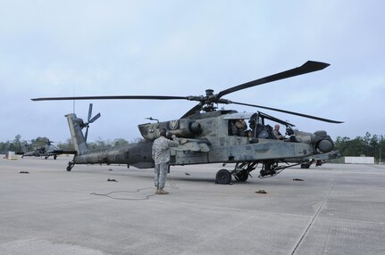 Crewmembers from 1-158th Assault Reconnaissance Battalion (ARB), conduct final maintenance checks on the AH-64 Apache Helicopter before its ceremonial final flight in Conroe, Texas, Mar. 6, 2016. 1-158th ARB is a direct reporting unit to the 11th Theater Aviation Command. The 11th Theater Aviation Command (TAC) is the only aviation command in the Army Reserve. (U.S. Army Photo by Capt. Matthew Roman, 11th Theater Aviation Command Public Affairs Officer)