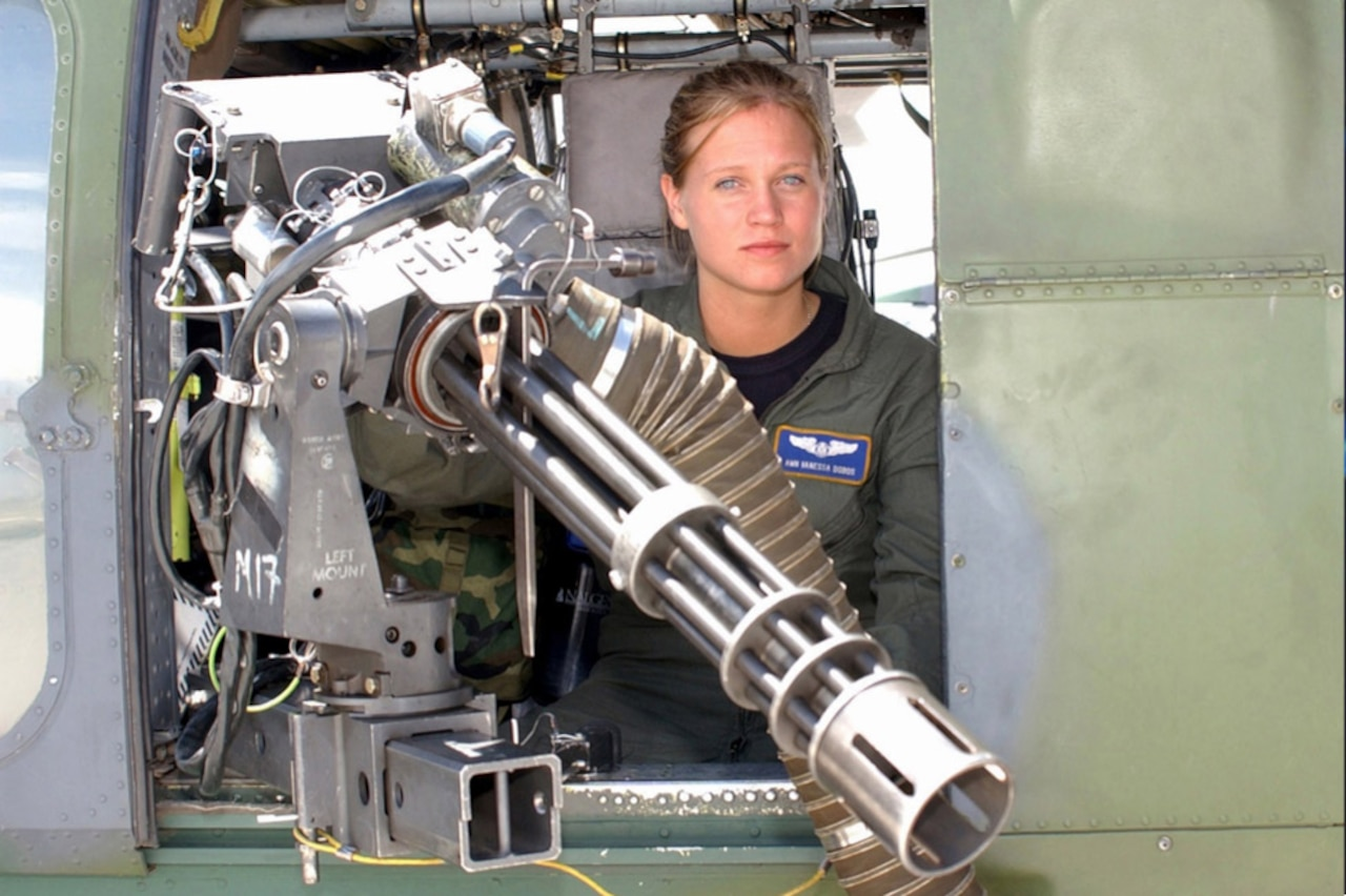 In 2002, Air Force Airman Vanessa Dobos became the first female aerial gunner, a combat duty that had previously been closed to women. Dobos went on to serve with distinction in Iraq and Afghanistan. National Archives photo