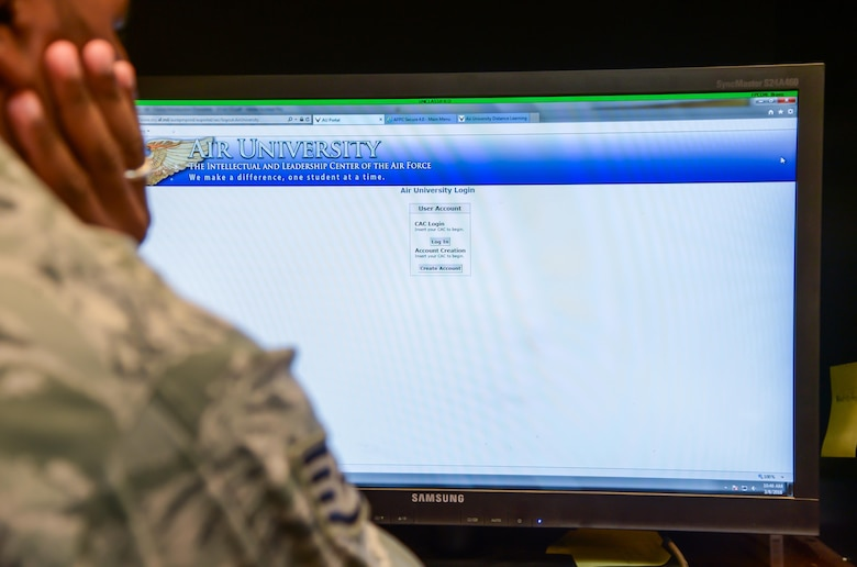 A Barksdale NCO logs into the Air University website from Barksdale Air Force Base, La., March 8, 2016. Air Universiry provides NCOs and Senior NCOs with enlisted professional military education content required for career progression and rank advancement. (U.S. Air Force photo/Senior Airman Mozer O. Da Cunha)