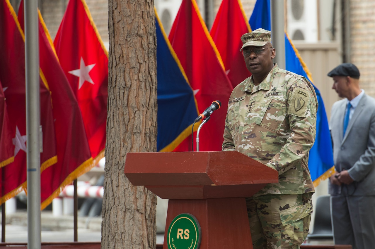 Army Gen. Lloyd J. Austin III, commander of U.S. Central Command, addresses the audience during the change-of-command ceremony for NATO's Resolute Support mission in Kabul, Afghanistan, March 2, 2016. DoD photo by Myles Cullen
