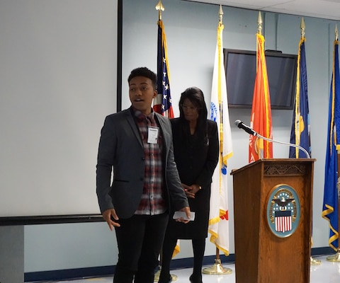 Jairus Jones delivered the Spoken Word to the crowd during the Black History Month celebration at DLA Distribution San Joaquin.