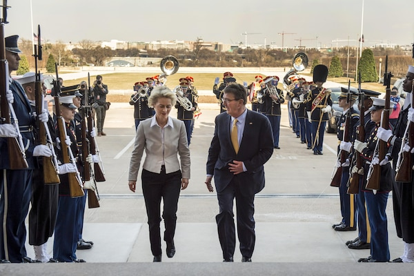 Defense Secretary Ash Carter welcomes German Defense Minister Ursula von der Leyen with an enhanced honor cordon as she arrives at the Pentagon, March 8, 2016. The two leaders met to discuss matters of mutual importance. DoD photo by Air Force Senior Master Sgt. Adrian Cadiz