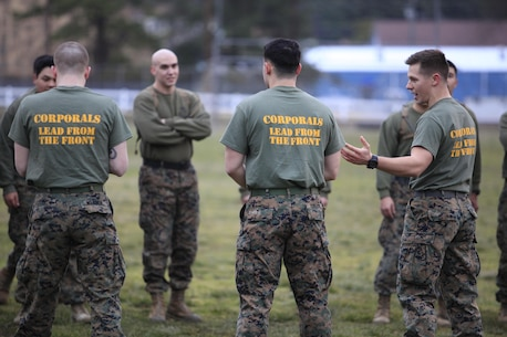 Corporals with Chemical Biological Incident Response Force (CBIRF), U.S. Marine Forces Command (MARFORCOM) led CBIRF in a battalion-wide physical training session ranging from pushups and lunges to buddy drags and fireman carry drills the morning before their graduation from Corporals Leadership Course, Feb. 26, 2016. The noncommissioned officers completed the 3 week course curriculum that included sword and guidon manual, land navigation, Marine Corps promotion system for sergeants and below and other small unit leader skills and traits.(Official USMC Photo by Sgt. Santiago G. Colon Jr./Released)
