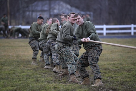 Marines and sailors with Chemical Biological Incident Response Force (CBIRF), U.S. Marine Forces Command (MARFORCOM), participate in tug-of-war competition during a battalion-wide physical training (PT) session. CBIRF Corporals led the battalion in a PT event ranging from pushups and lunges to buddy drags and fireman carry drills the morning before their graduation from Corporals Leadership Course, Feb. 26, 2016. The noncommissioned officers completed the 3 week course curriculum that included sword and guidon manual, land navigation, Marine Corps promotion system for sergeants and below and other small unit leader skills and traits. (Official USMC Photo by Sgt. Santiago G. Colon Jr./Released)