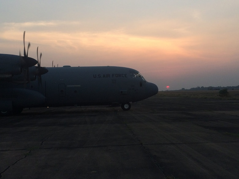 A 143d Airlift Wing C-130J Super Hercules sits on the ramp in Thailand during exercise Cobra Gold 2016 an annual Thai-U.S. co-sponsored joint and multinational exercise. Photo provided by Staff Sergeant Tyler Fletcher, 143d Maintenance Group