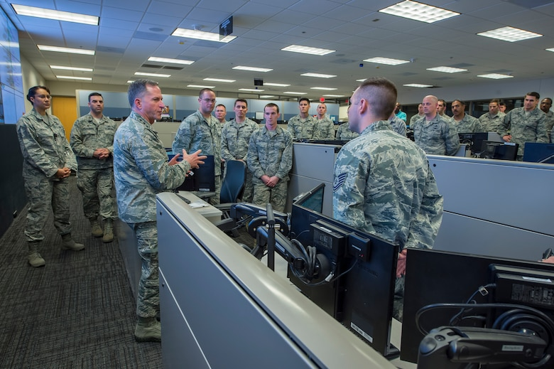 Air Force Vice Chief of Staff Gen. David L. Goldfein speaks to personnel within the 624th Operations Center during a visit at Joint Base San Antonio, Texas March 3. Goldfein received briefings focused on 24th Air Force – AFCYBER's command and control of cyber forces and took the opportunity to personally thank the cyber warriors as well as to stress the significance of cyber in today's multi-domain operations. (U.S. Air Force photo by MSgt Luke P. Thelen/Released)