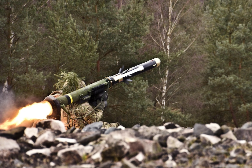 A soldier fires an FGM-148 Javelin missile during a live-fire exercise at Grafenwoehr Training Area, Germany, Feb. 24, 2016. Army photo by Sgt. William A. Tanner