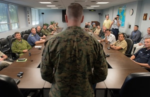 Marine Corps Gen. Joseph F. Dunford Jr., chairman of the Joint Chiefs of Staff, meets liaison officers from partner nations while visiting Joint Interagency Task Force South in Key West, Fla., March 8, 2016. DoD photo by Navy Petty Officer 2nd Class Dominique A. Pineiro