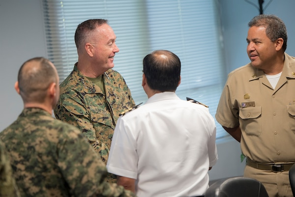 Marine Corps Gen. Joseph F. Dunford Jr., chairman of the Joint Chiefs of Staff, meets liaison officers from countries participating in Joint Interagency Task Force South in Key West, Fla., March, 8, 2016. The agency conducts international detection and monitoring operations, and intercepts illegal narcotics in support of national and partner nation security. DoD photo by Navy Petty Officer 2nd Class Dominique A. Pineiro