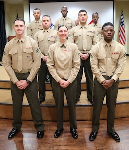 MACDILL AFB, Fla. (March 4, 2016) -- U.S. Marine Corporals Jordan Belser, Taylor Magdaleno, Gregorie Clay (front row, left to right), Bryant Viera and Alec Sanchez (middle row, left to right) pose for their class photo at the first U.S. Marine Corps Forces – Central Command sponsored Corporals Course graduation ceremony. Per Marine Corps Order (MCO) P1400.32D, all corporals must successfully complete a command-sponsored resident Corporals Course in order to be eligible for promotion to sergeant. (U.S. Marine Corps photo by Master Sgt. Will Price)