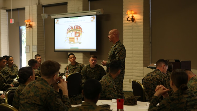 U.S. Marine Brig. Gen. David A. Ottignon speaks to lieutenants at the 1st Marine Logistics Group lieutenant seminar aboard Camp Pendleton, Calif., Feb. 25, 2016. Ottignon is the commanding general of 1st MLG. This seminar among first and second lieutenants in the Group was designed to garner knowledge and foster the camaraderie within the ranks, forming confident and decisive leaders. The seminar had two sessions in February and will continue at least bi-annually. (U.S. Marine Corps photo by 1st Lt. Allison Burgos/Released)