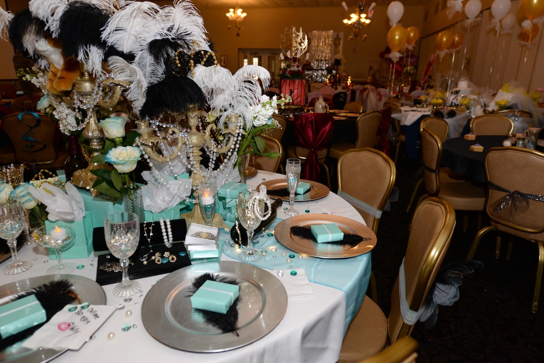 """Spouses decorated a total of 14 tables to be judged for the first-ever Spouses Dining-in, March 5, 2016, at Seymour Johnson Air Force Base, North Carolina. Some of the themes were """"Breakfast at Tiffany's,"""" """"The Great Gatsby,"""" """"Alice in Wonderland"""" and """"Snow White."""" (U.S. photo/Airman 1st Class Ashley Williamson)"""