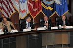 DLA Vice Director Ted Case (second from right) delivers opening remarks at the second SOCOM/DLA Day event March 1. Also participating were, left to right, Rear Adm. Vincent Griffith, director of DLA Logistics Operations; James Geurts, acquisition executive for US Special Operations Command; and Tony Poleo, director of DLA Finance.
