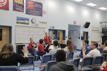 "On March 9, 2016, a string quartet from ""The President's Own"" performed a Music in the High Schools presentation at West Potomac High School in Alexandria, Va. (U.S. Marine Corps photo by Master Sgt. Kristin duBois/released)"
