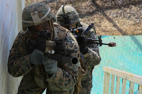 "U.S. Marine Corps Lance Cpl. Johnathan Williams, a mortarman, clears a house with Sgt. Jung Ti Hyung an infantry Marine with the Republic of Korea in an integrated training exercise during exercise Ssang Yong in Pohang, South Korea, March 9, 2016.   Williams is assigned a member of Weapons Company, 1st Battalion, 3rd Marine Regiment, ""The Lava Dogs"", currently assigned to 4th Marine Regiment while on unit deployment program to Okinawa, Japan.   Exercise Ssang Yong 16 is a biennial military exercise focused on strengthening the amphibious landing capabilities of the Republic of Korea, the U.S., New Zealand and Australia."