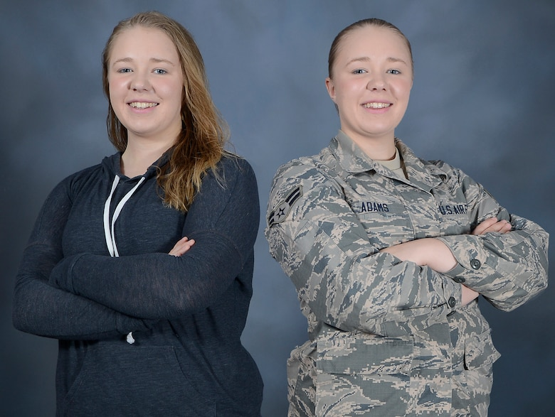 Airman 1st Class Mariette M. Adams, a photojournalist with the 6th Air Mobility Wing Public Affairs office, transitioned from an Air Force spouse to an active-duty member on Dec. 29, 2014. Adams' transition gave her insight into the daily responsibilities of an Airman that she could not grasp as a spouse. (U.S. Air Force photo illustration by Staff Sgt. Shandresha Mitchell)