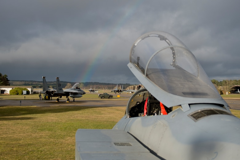 F-15C Eagles from the 493rd Fighter Squadron rest between sorties at Royal Air Force Lakenheath, March 7, 2016. The 493rd FS is a combat-ready F-15C squadron capable of executing air superiority and air defense missions in support of war plans and contingency operations for U.S. Air Forces in Europe-Air Forces Africa, U.S. European Command and NATO. (U.S. Air Force photo/Airman 1st Class Erin R. Babis)