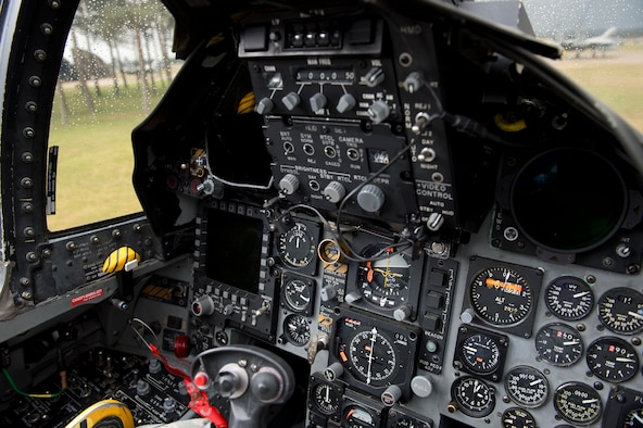 A view of the cockpit of an F-15C Eagle from the 493rd Fighter Squadron as it rests on the runway between sorties at Royal Air Force Lakenheath, March 7, 2016. The 493rd FS maintains the ability to rapidly generate, deploy, and sustain operations to execute wartime and peacetime taskings in any theater of operations in the world. (U.S. Air Force photo/Airman 1st Class Erin R. Babis)