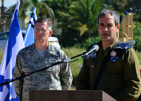 Brig. Gen. Zvika Haimovich, Israeli Aerial of Defense commander, speaks about exercise Juniper Cobra 16 during a joint press conference with Lt. Gen. Timothy Ray, 3rd Air Force and 17th Expeditionary Air Force commander, in Israel, Feb. 25, 2016. Juniper Cobra is a combined ballistic missile defense exercise that will uses computer simulations to train U.S. and Israeli military service members. (U.S. Air Force photo by Staff Sgt. Stephanie Longoria/Released)