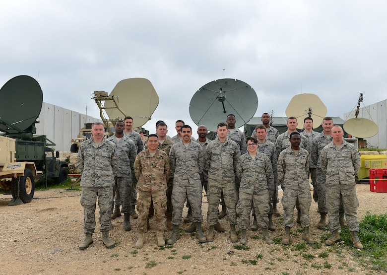 Airmen from the 1st Combat Communications Squadron, 52nd CBCS and soldiers from the 44th Expeditionary Signals Battalion work together to support U.S. European Command exercise Juniper Cobra 16 in Israel, March 3, 2016. Juniper Cobra uses ballistic missile defense computer simulations to train U.S. and Israeli service members while reinforcing a strong military relationship.