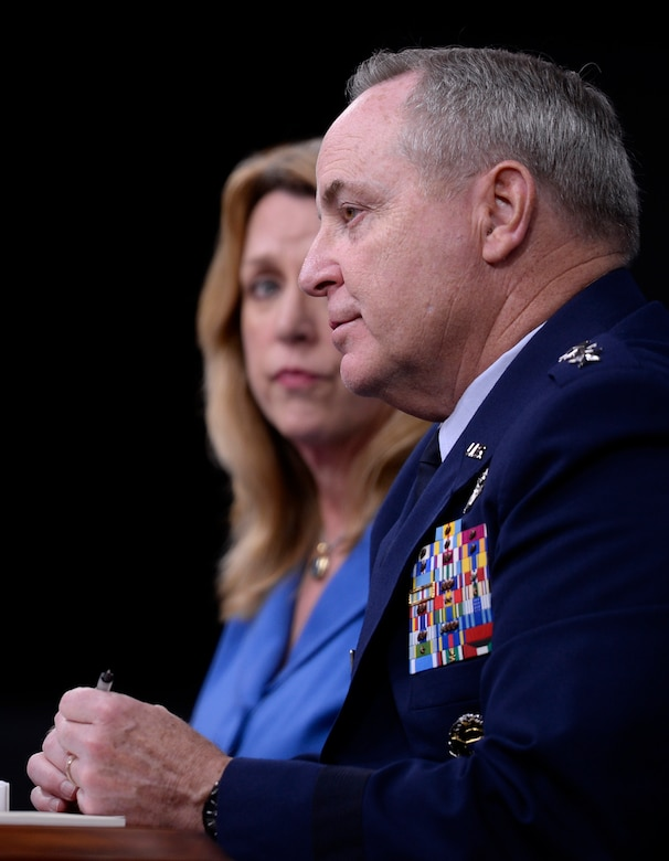 Secretary of the Air Force Deborah Lee James and Air Force Chief of Staff Gen. Mark A. Welsh III give a press conference on the State of the Air Force in the Pentagon March 7, 2016. (U.S. Air Force photo/Scott M. Ash)