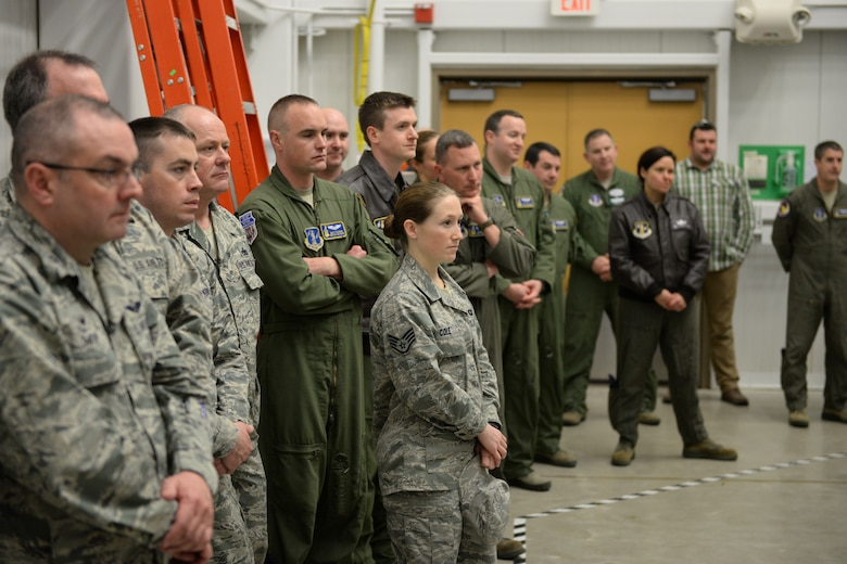 U.S. Airmen with the 157th Air Refueling Wing, New Hampshire Air National Guard attend an event marking the retirement of the KC-135 flight simulator from Pease Air National Guard Base, New Hampshire, March, 9, 2016.  The simulator is being retired to make way for a new KC-46 weapons trainer slated to arrive in the spring of 2017. (U.S. Air National Guard photo by Staff Sgt. Curtis J. Lenz)