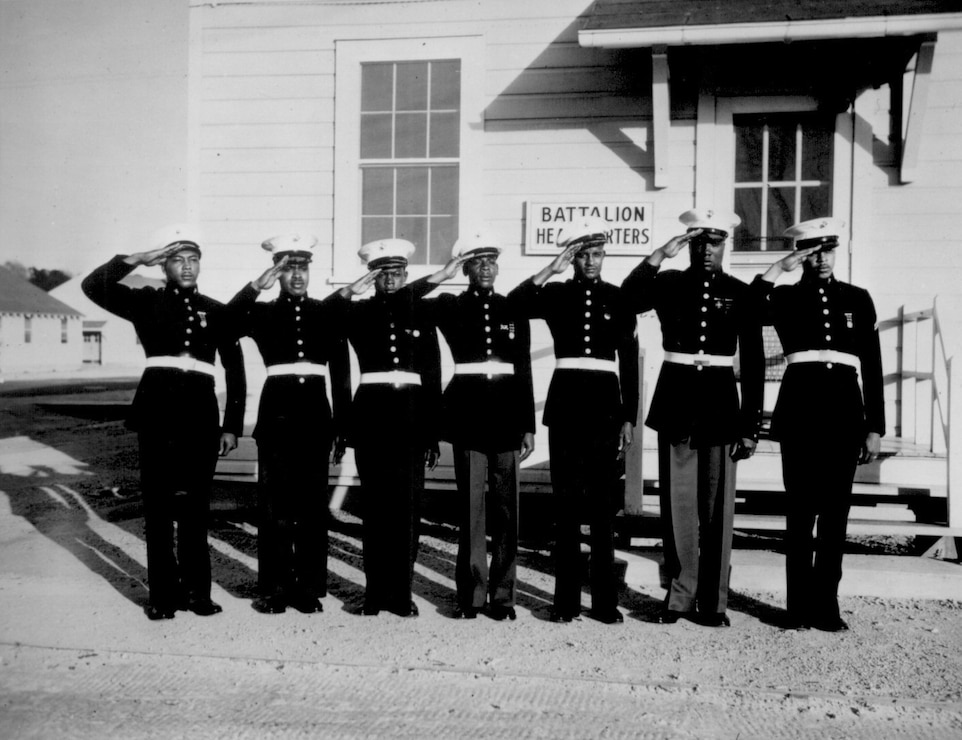 A group of the black volunteers in their dress uniforms, May 1943. Although a dress uniform was not a part of the regular equipment, most of the black Marines spend $54 out of their pay for what is generally considered the snappiest uniform in the armed services. (Photo by Roger Smith/Released)