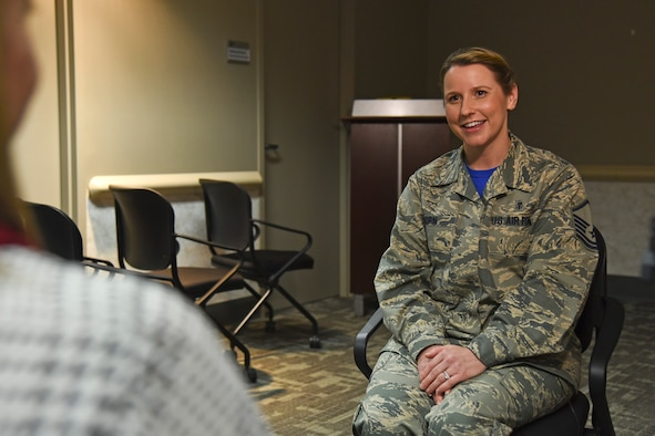 Master Sgt. Stephanie Horn, the health services manager for the 92nd Medical Group, is interviewed at Fairchild Air Force Base, Wash., Feb. 26, 2016, for a video that will be part of the presentation at her local American Red Cross Hometown Heroes luncheon. Horn was named an American Red Cross Hometown Hero after saving a woman's life last year. (U.S. Air Force photo/Airman 1st Class Mackenzie Richardson)