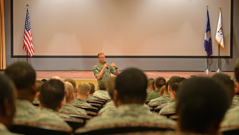 Chief Master Sgt. of the Air Force, James Cody, speaks to Beale Airmen during an all call March 7, 2016, at Beale Air Force Base, California. Airmen had the opportunity to openly ask questions, which included topics such as; enlisted remotely piloted aircraft operators, professional military education and the future outlook of the force. (U.S. Air Force photos by Senior Airman Ramon A. Adelan)