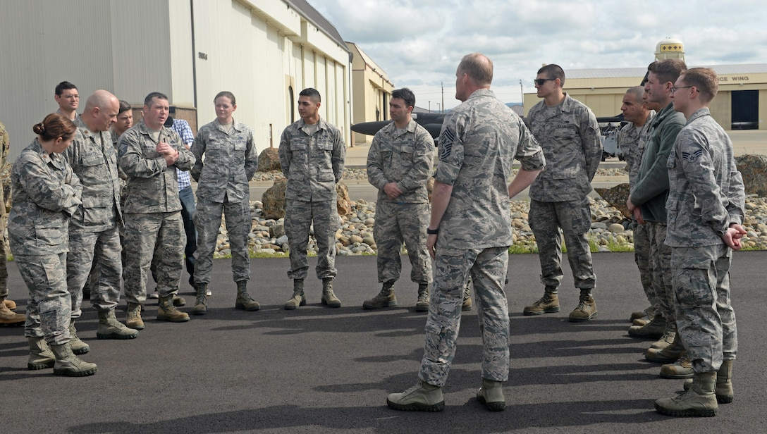 Chief Master Sgt. of the Air Force, James Cody, meets with Airmen from the 9th Maintenance Group March 8, 2016, at Beale Air Force Base, California. Cody took the opportunity to answer questions from Airmen and to learn about the individuals who are serving alongside with him. (U.S. Air Force photos by Senior Airman Ramon A. Adelan)