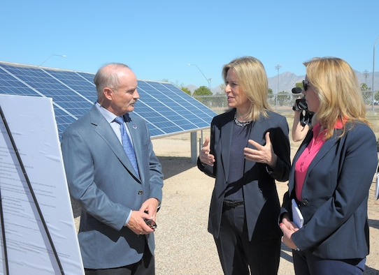 Deputy Secretary of Energy Dr. Elizabeth Sherwood-Randall and Secretary of the Air Force Deborah Lee James speak with Greg Noble, 355th Civil Engineering Squadron base energy manager, at Davis-Monthan Air Force Base, Ariz., March 9, 2016. Noble briefed Sherwood-Randall and James about D-M AFB's solar array, the 2nd largest in the U.S. Air Force. Sherwood-Randall and James reviewed D-M AFB's operations and discussed significant contributions to efficient energy use. (U.S. Air Fore photo by Airman 1st Class Mya Crosby/Released)