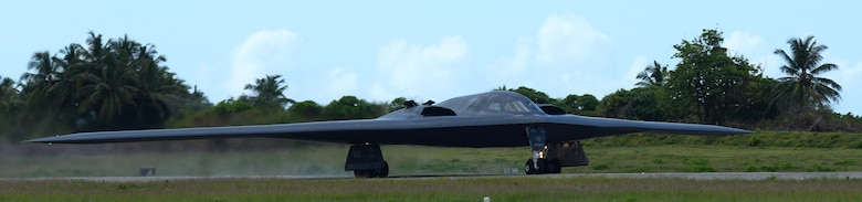 A B-2 Spirit from Whiteman Air Force Base, Mo., lands at an undisclosed location in the U.S. Pacific Command area of operations March 9, 2016. While in the Indo-Asia-Pacific, the B-2s will integrate and conduct training with ally and partner air forces and conduct a radio communications check with a U.S. air operations center. (U.S. Air Force photo by Senior Airman Joel Pfiester/Released)