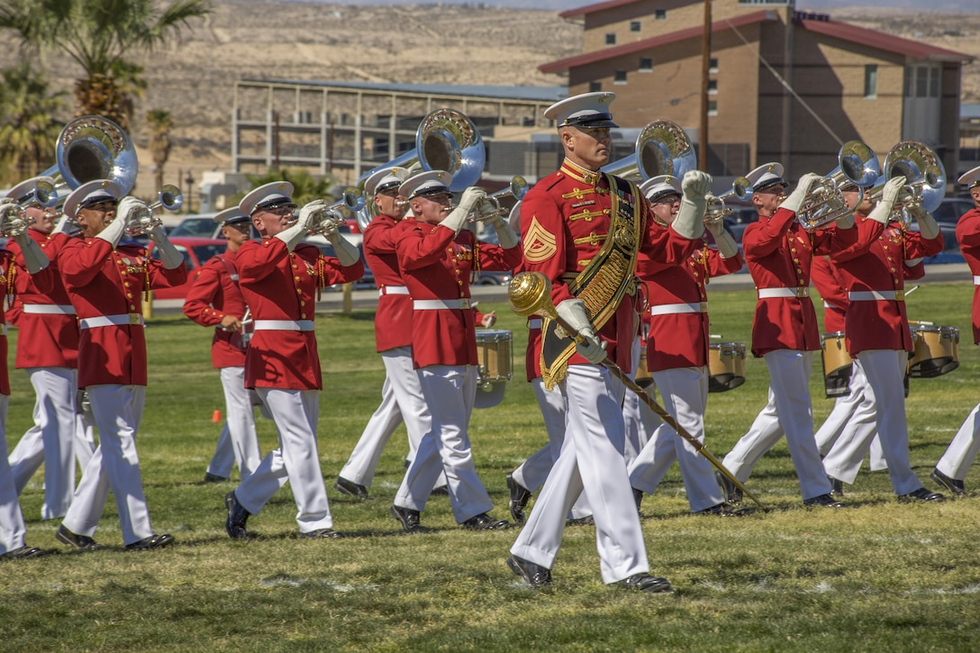 The Marine Corps Drum and Bugle Corps of the Battle Color Detachment performs during a Battle Color Ceremony at Lance Cpl. Torrey L. Gray Field March 9, 2016. (Official Marine Corps photo by Lance Cpl. Levi Schultz/Released)