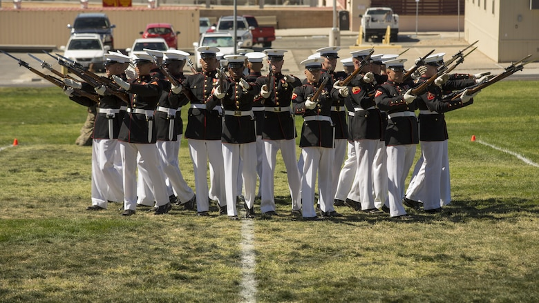 The Marine Corps Silent Drill Platoon of the Battle Color Detachment performs in a Battle Color Ceremony at Lance Cpl. Torrey L. Gray Field March 9, 2016. (Official Marine Corps photo by Lance Cpl. Levi Schultz/Released)