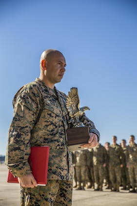 Gunnery Sgt. Carlos Aguilar stands in front of formation after receiving an award in recognition of his leadership during a ceremony at Marine Fighter Attack Squadron 312 aboard Marine Corps Air Station Beaufort March 2.  During the ceremony, Aguilar was presented with the Navy & Marine Association Leadership Award, a peer-selected recognition. The association sponsors more than 400 awards annually for commanders to recognize officers and enlisted personnel who have been selected by their peers as outstanding leaders in their respective communities. Aguilar is a maintenance controller with VMFA-312.