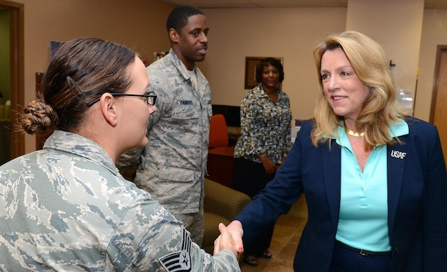Air Force Secretary Deborah Lee James greets members of the 56th Fighter Wing sexual assault prevention and response team March 10, 2016, at Luke Air Force Base, Ariz. James visited Luke AFB to receive updates on the progress of the F-35 Lightning II program. She also toured the base and received a briefing about the SAPR office and services offered through the agency. (U.S. Air Force photo/Senior Airman James Hensley)