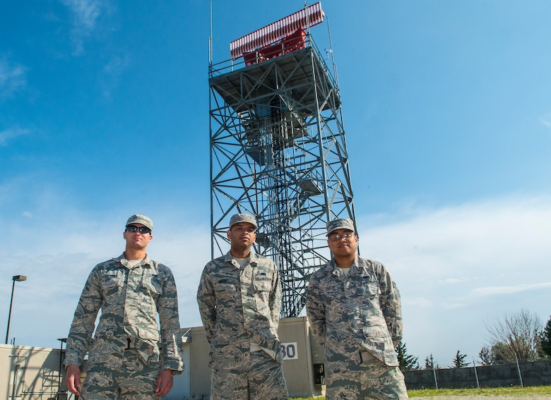(From left) U.S. Air Force Airman 1st Class Nelson Guerra, Senior Airman's Derek Miles and Mark Trusty, 39th Operations Support Squadron ground radar technicians, stand outside the Digital Airport Surveillance Radar Feb. 22, 2016, at Incirlik Air Base, Turkey. Ground radar technicians here have the responsibility of maintaining the only operational radar for all air traffic for Adana Airport and Incirlik Air Base, Turkey. (U.S. Air Force photo by Staff Sgt. Eboni Reams/Released)