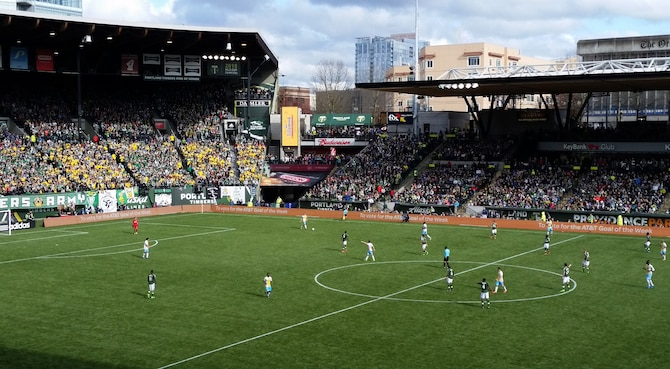 The Portland Timbers FC playing their season opening match, hosting the Columbus Crew SC at Providence Park, Portland, Ore., Mar. 6, 2016. Coincidently, the Timbers won the opening 2016 match the same way they won their first title match on Dec. 6, 2015, by beating the Crew with the same 2-1 score. (U.S. Air National Guard photo by Tech. Sgt. John Hughel, 142nd Fighter Wing Public Affairs)
