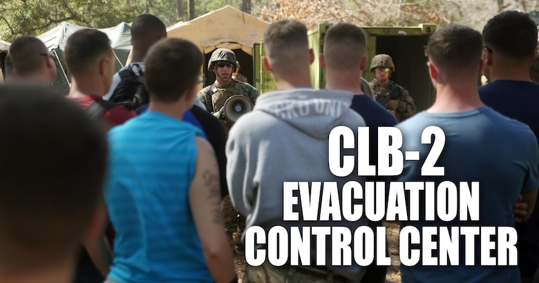 Sgt. Brandyn Knight, the Evacuation Control Center entry point noncommissioned officer in charge with Combat Logistics Battalion 2, briefs notionally displaced American citizens as they prepare to enter the ECC to be evacuated during the battalion's certification exercise, at Marine Corps Auxiliary Landing Field Bogue, N.C., March 10, 2016. The battalion is slated to deploy on Special Purpose Marine Air-Ground Task Force-Crisis Response-Africa later this year. (U.S. Marine Corps illustration by Cpl. Joey Mendez)