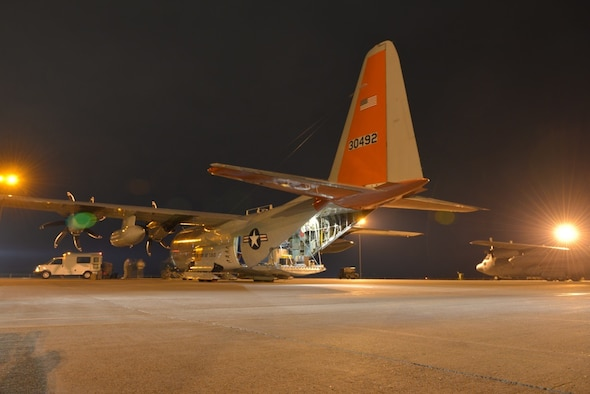 An LC-130 Hercules aircraft sits on the flight line at Stratton Air National Guard Base in Scotia, New York,  after returning from Antarctica to the base near  Schenectady, on March 8, 2016. The wing, which flies the only ski-equipped aircraft in the U.S. military flies transportation missions in support of the National Science Foundation as part of Operation Deep Freeze, the military support to the U.S. Antarctic Program.