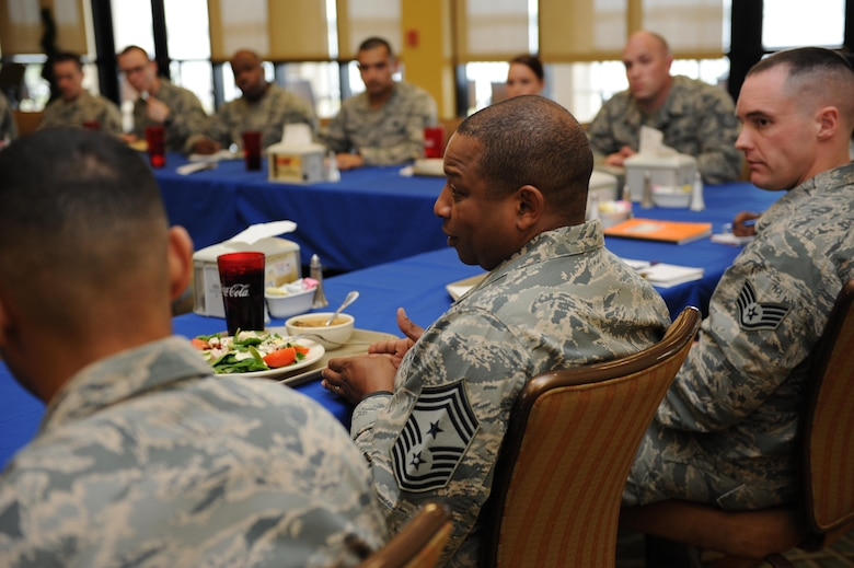 Chief Master Sgt. Farrell Thomas, 2nd Air Force command chief, has lunch with Keesler NCOs at the Bay Breeze Event Center during an immersion tour Mar.8, 2016, Keesler Air Force Base, Miss. Thomas also visited the 81st Medical Group to become oriented with group missions, operations and personnel. (U.S. Air Force photo by Kemberly Groue)