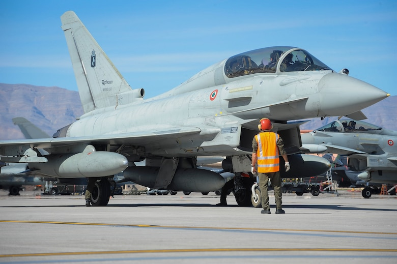 An Italian air force Eurofighter Typhoon from the 4th Fighter Wing, Grosseto, Italy, conducts pre-flight checks in preparation for take-off during Red Flag 16-2 March 3, 2016 at Nellis Air Force Base, Nev., for Red Flag 16-2. It is the first time the Eurofighter Typhoon from the Italian air force is participating. (U.S. Air Force photo by Senior Airman Jake Carter)