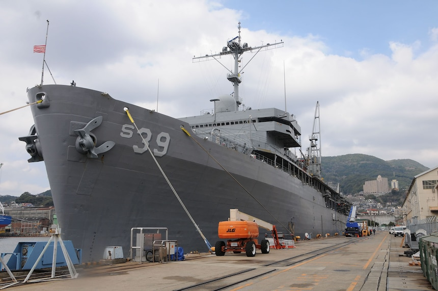 160311-N-JD834-034 SASEBO, Japan (Mar. 11, 2016) The submarine tender USS Emory S. Land (AS 39) shortly after arrival to Fleet Activities Sasebo, Japan. Emory S. Land is a forward deployed expeditionary submarine tender on an extended deployment conducting coordinated tended moorings and afloat maintenance in the U.S. 5th and 7th Fleet areas of operations. (U.S. Navy photo by Mass Communication Specialist 3rd Class Michael Doan/Released)