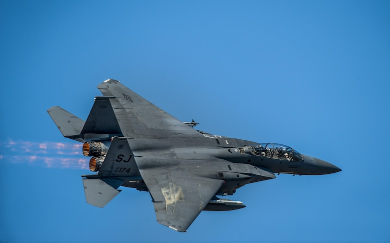 An F-15E Strike Eagle soars through the sky during a training exercise, Feb. 18, 2016, at Moody Air Force Base, Ga. During the training, the aircraft conducted tactical air and ground maneuvers, as well as weapons training. (U.S. Air Force photo by Airman 1st Class Lauren M. Johnson/Released)